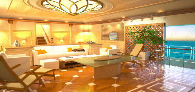 rendering degli interni con bathing platform col mare come infinite pool