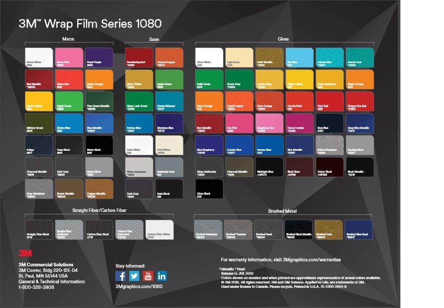 Paletta dei colori disponibili 3M