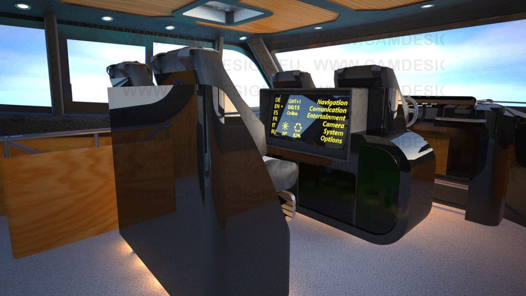 rendering of the interiors: pilothouse and helm position
