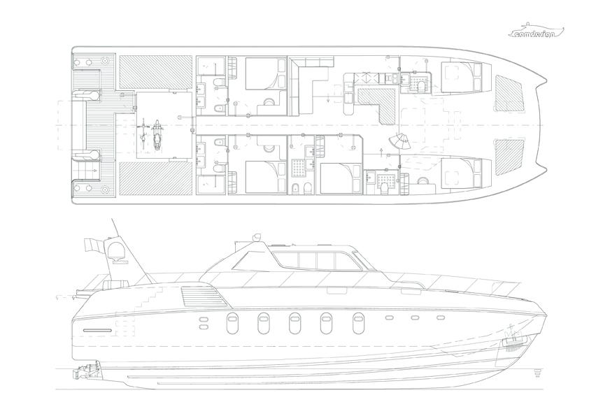 Disegni tecnici dello yacht.