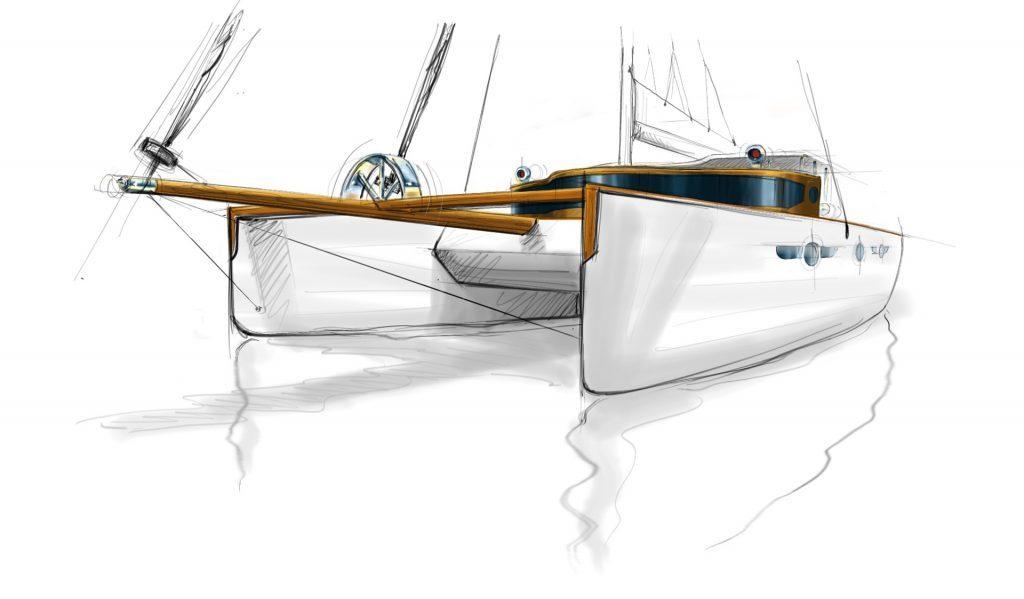 Schizzo del catamarano a vela
