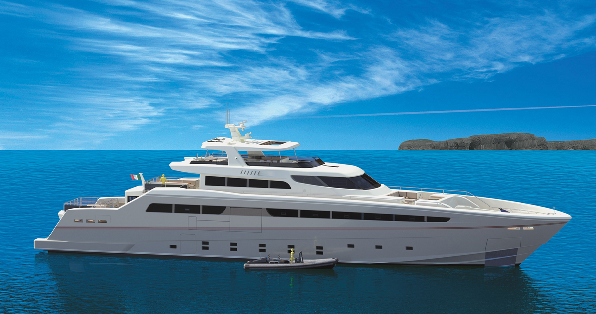 Rendering of the yacht at sea